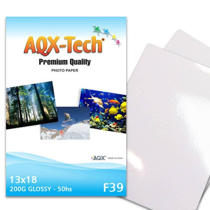 Papel Fotografico Glossy Brillante 13x18 200grs por 50 Hojas AQX F39