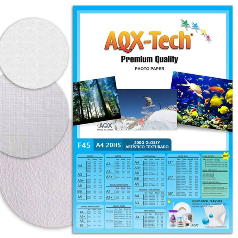 Papel Fotografico Texturado Glossy Brillante A4 200gr por 20 Hojas AQX F45