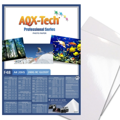 Papel Foto Pro RC Glossy Brillante Premium A4 260grs por 20 Hojas AQX F48