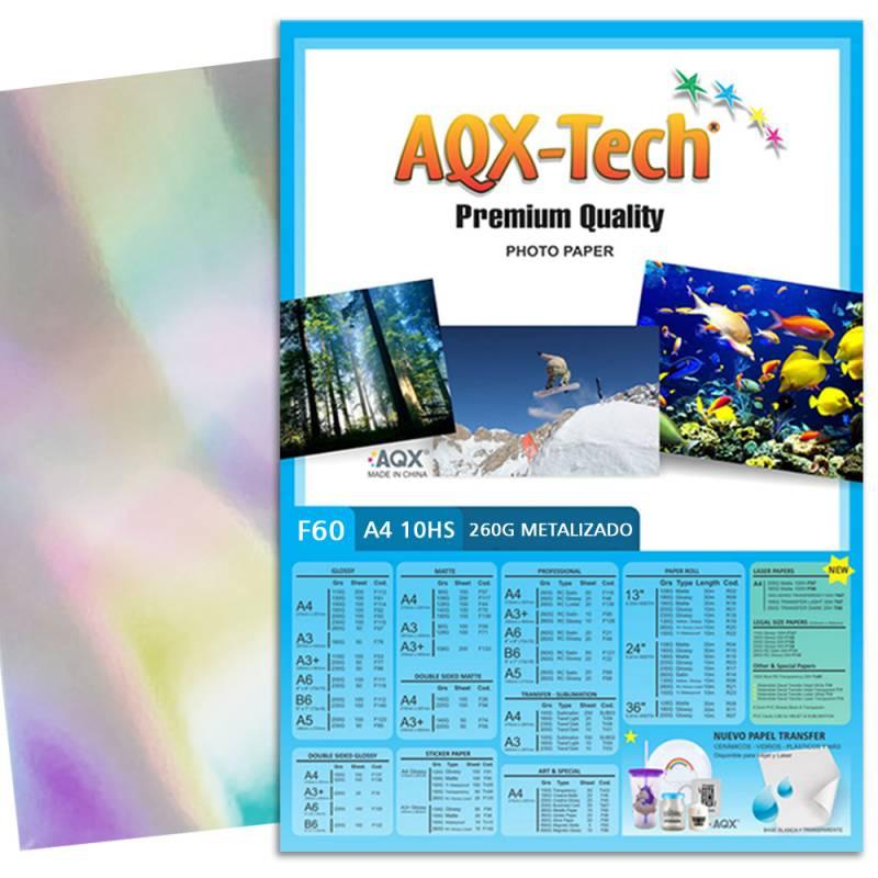 Papel Fotografico Metalizado A4 260gr por 10 Hojas AQX F60