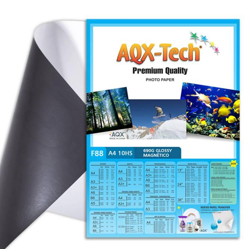 Papel Glossy Brillante Magnetico Imantado A4 690gr por 10 hojas AQX F88