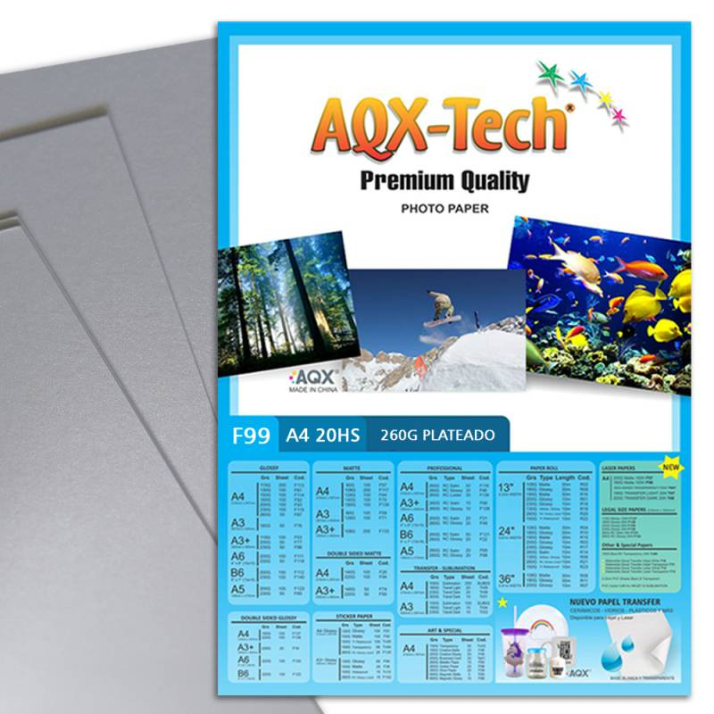 Resma Papel Plateado A4 260gr por 20 Hojas AQX F99