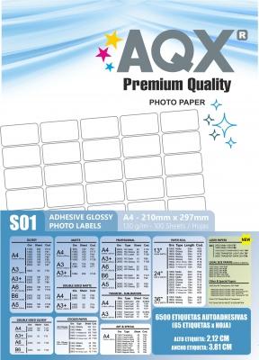 Papel Autoadhesiva Glossy A4 - 65 Etiquetas de 3,81 x 2,12 x hoja