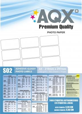 Papel Autoadhesiva Glossy A4 - 24 Etiquetas de 6,40 x 3,39 x hoja