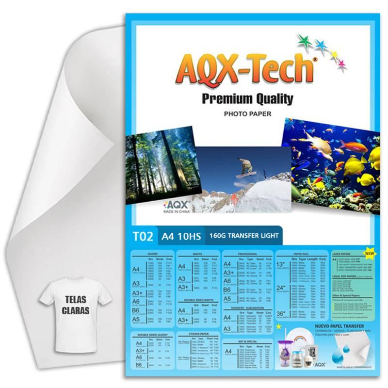 Papel Transfer Claro A4 150grs por 10 Hojas AQX T02