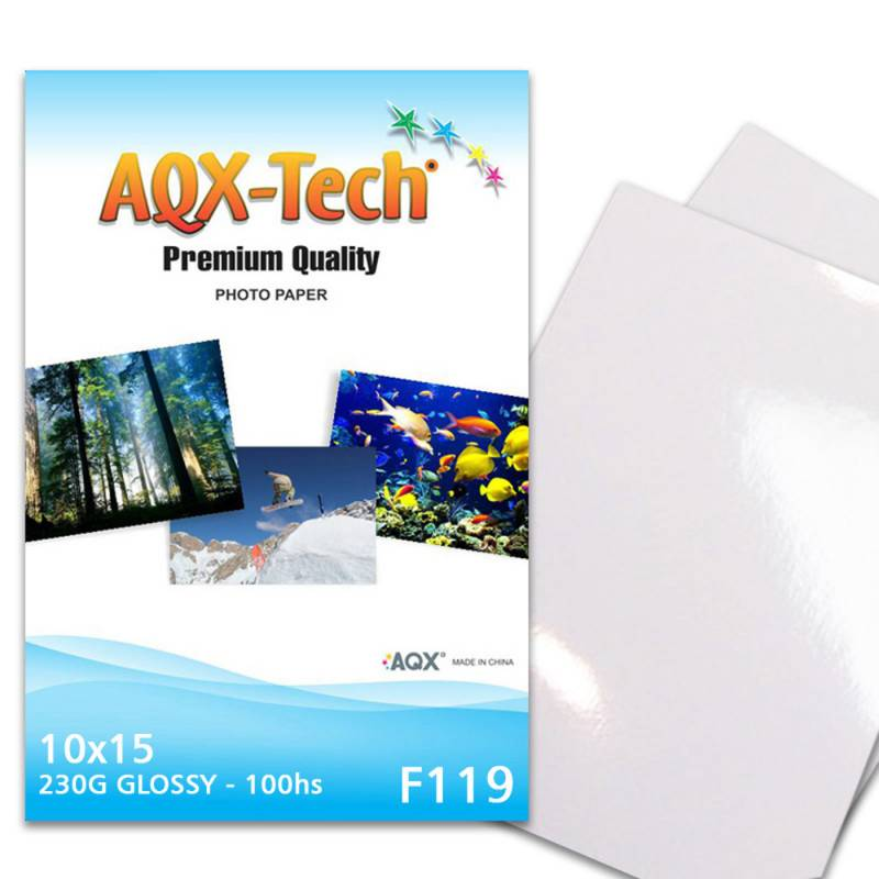Papel Fotografico Glossy Brillante 10x15 230gr por 100 Hojas AQX F119