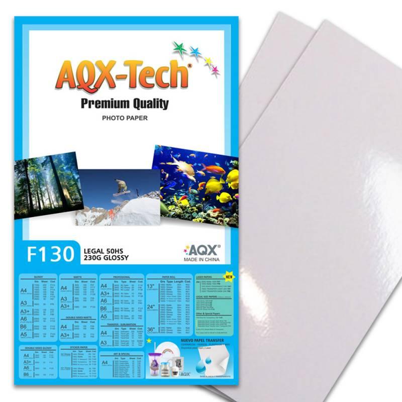 Papel Fotografico Glossy Brillante Oficio 230grs 50 Hojas AQX F130