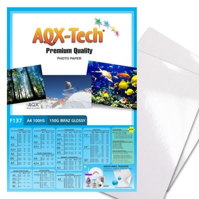 Papel Fotografico Glossy Brillante bifaz A4 150gr por 100 Hojas AQX F137