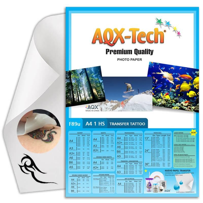 Papel Tatoo temporal A4 por hoja AQX F89u