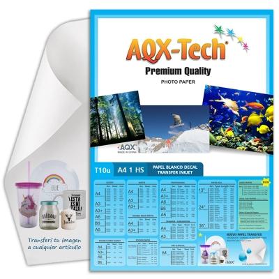 Papel Decal Inkjet Blanco Transfer al agua por hoja AQX T10u