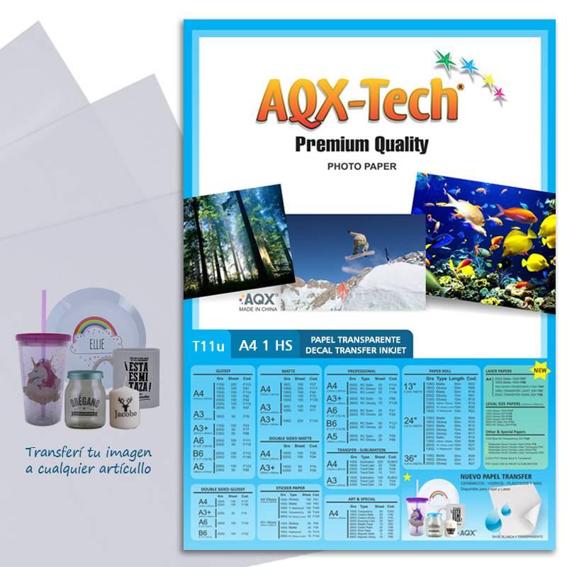 Transparencia Film Acetato Fotografico Decal Inkjet Transfer al agua por hoja AQX T11u