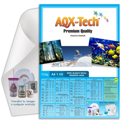 Papel Decal Laser Blanco Transfer al agua por hoja AQX T12u