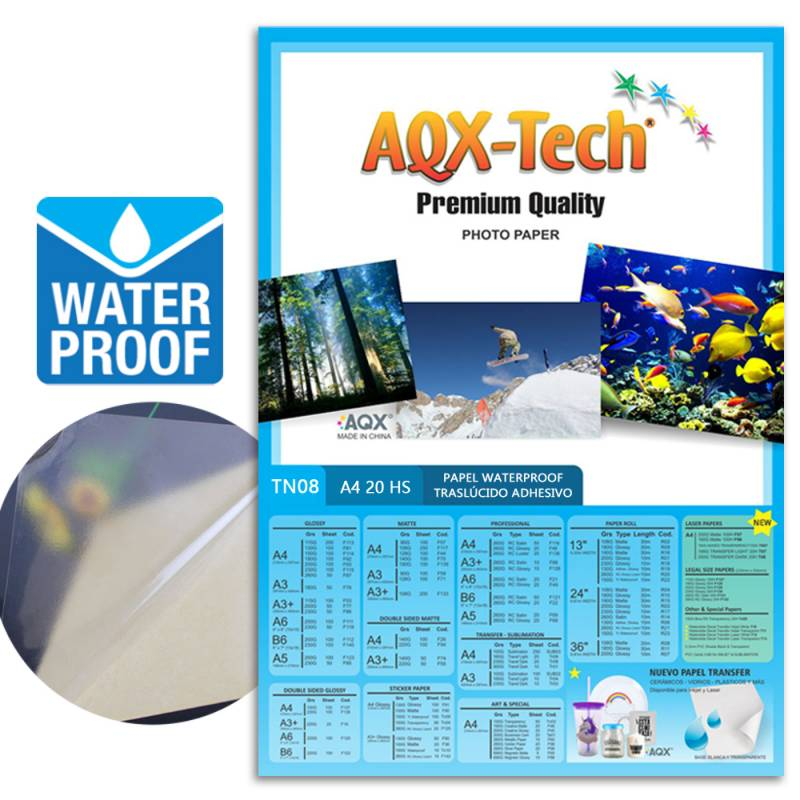 Transparencia Film Acetato Fotografico Autoadhesiva A prueba de Agua A4 por 20 Hojas AQX TN08