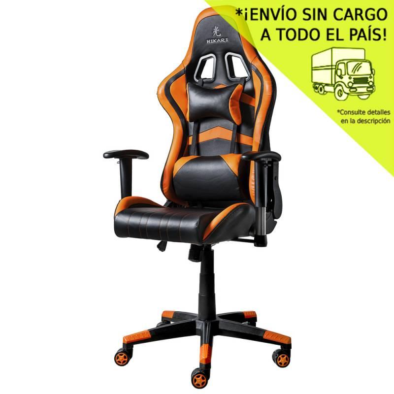 Silla de Oficina GM20 Negra con detalles en naranja- Mecanismo Mariposa