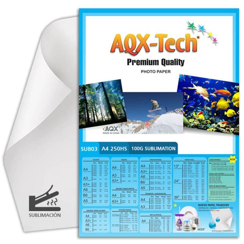 Papel de sublimacion A4 100grs por 250 Hojas AQX SUB03