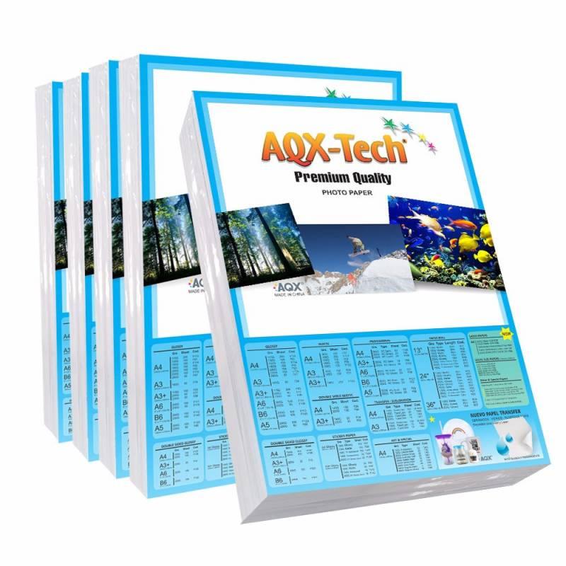 Combo Papel Autoadhesivo Glossy Brillante Poster A4 por 100 Hojas AQX F125x5