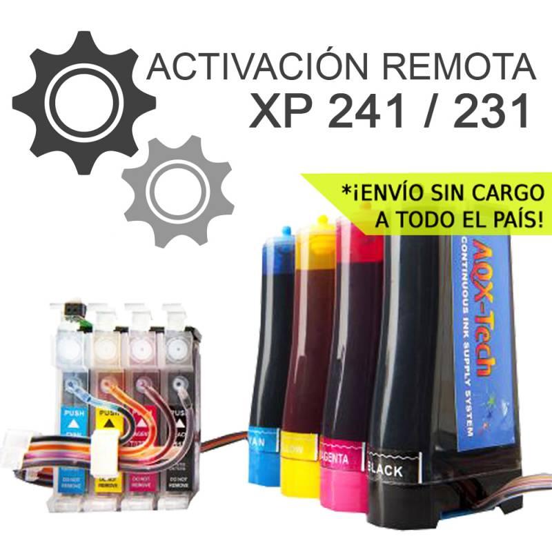 Sistema Continuo AQX Para Epson XP 241 231 431 con 400ml ACTIVACION REMOTA