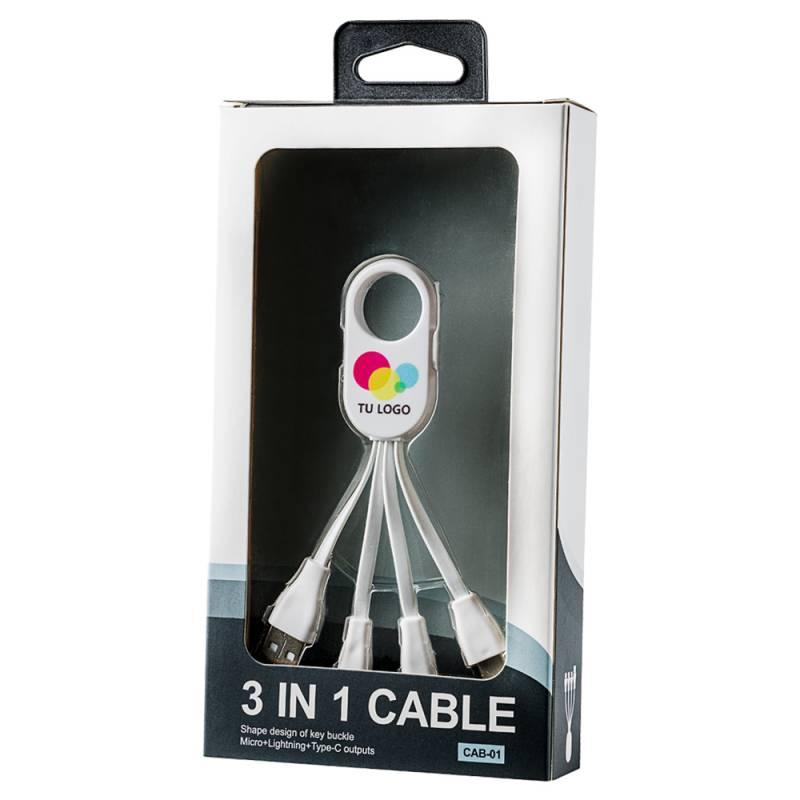 Cable Hikari 4 conectores (Lightning + Micro + Type + USB) Personalizado con Logo / Imagen