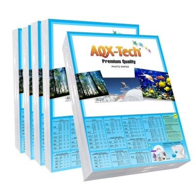Combo Papel Fotografico Glossy Brillante Bifaz A4 220gr por 500 Hojas AQX F138x5