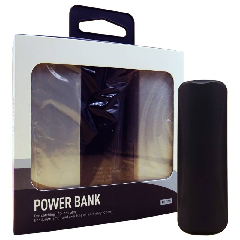 Power Bank Cargador Portatil Hikari Negro 2200 mAh Carga Rapida Personalizado con Logo / Nombre