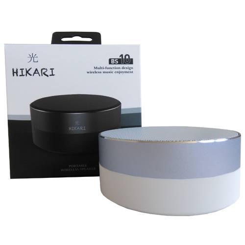 Parlante Inalambrico Hikari Bluetooth Plateado y Blanco