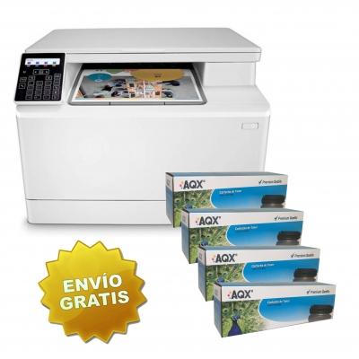 Impresora Laser Color HP M182 LaserJet Pro + Kit 4 Toners Aqx