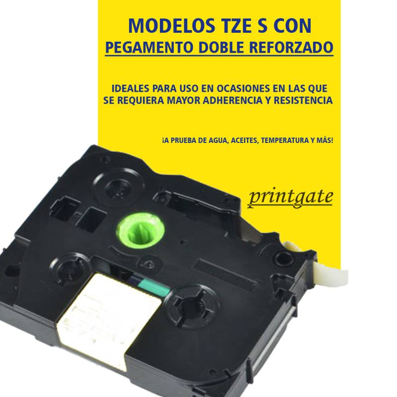 Cinta Rotuladora Printgate TZES 231 Negro s/ Blanco Pegamento Fuerte 12mm x 8m P/ Brother