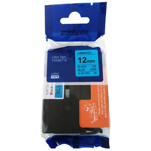 Cinta Para Rotuladora Brother TZ 531 Negro s/ Azul 12mm x 8m Alternativa Printgate