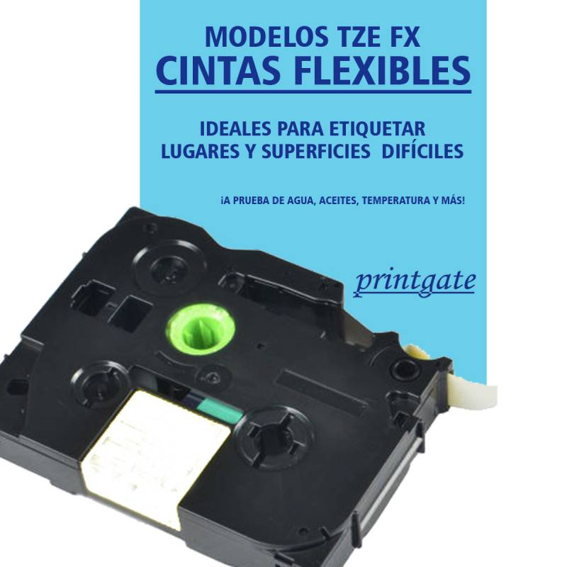 Cinta Rotuladora Printgate TZE FX231 Negro s/ Blanco Flexible 12mm x 8m P/ Brother