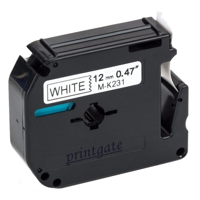 Cinta Rotuladora Printgate MK231 Negro s/ Blanco 12mm x 8m P/ Brother