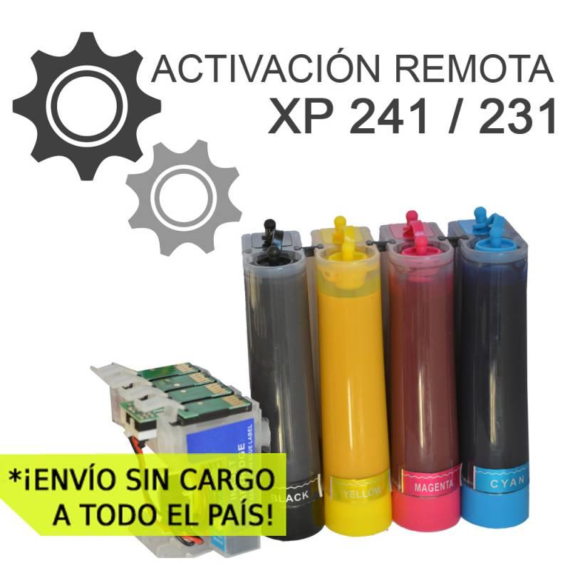 Sistema Continuo AQX Para Epson XP 241 231 431 con 400ml Sublim ACTIVACION REMOTA