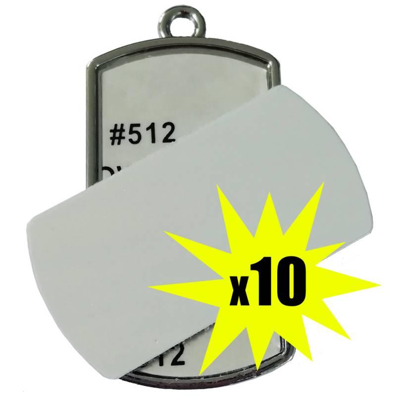 Colgante de Metal Rectangular Sublimable en ambas caras x 10 unidades