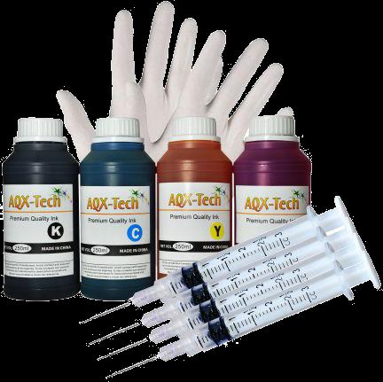 Kit de Recarga AQX Para HP 1 litro + Guantes + Jeringas
