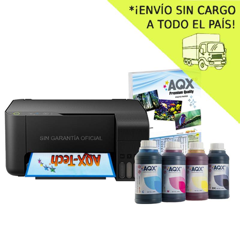 Impresora Multifuncion Epson L3110 Sist Continuo Incorporado Orig + 1000ml AQX-Tech Ink