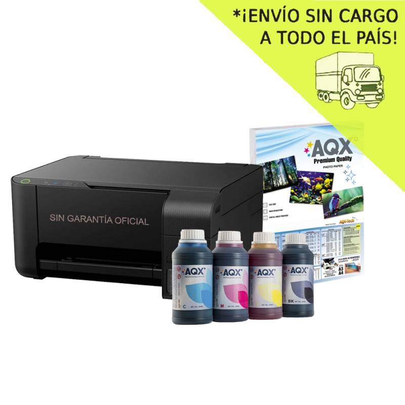 Impresora Multifuncion Epson Wifi L3150 Sist Continuo Incorporado Orig + Resma y 1000ml AQX-Tech Ink