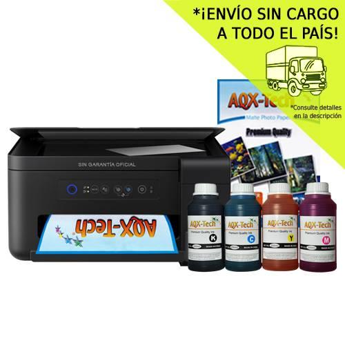 Impresora Multifuncion Epson Wifi L4150 Sistema Continuo Incorporado Orig +  Resma y 1000ml AQX-Tech Ink