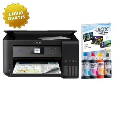 Impresora Multifuncion Epson Wifi L4160 Sist Continuo Incorporado Orig + Resma y 1 Litro AQX-Tech Ink