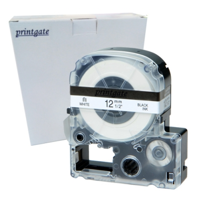 Cinta Rotuladora Printgate LC4WBN9 Negro s/ Blanco 12mm x 8m P/ Epson