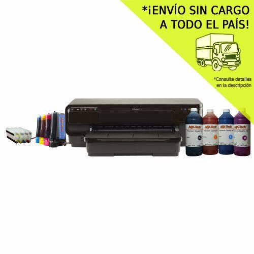 Impresora A3 HP 7110 mas Sistema Continuo AQX + Resma y 4 litros AQX-Tech Pro Ink