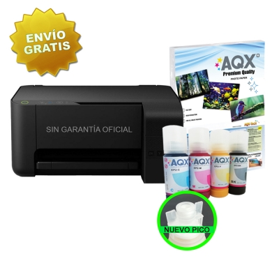 Impresora Sublimacion Multifuncion Epson L3110 Sist Cont Orig + 400ml AQX-Tech Sublimacion Premium