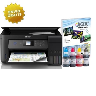Impresora Multifuncion Epson Wifi L4160 Sist Continuo Incorporado Orig + Resma y 400ml AQX-Tech Ink