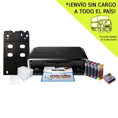 Impresora Canon IP7210 + Sist Continuo AQX + Bandeja Para Tarj PVC + 100 Tarj PVC Glossy