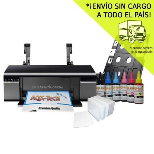 Impresora Epson L805 CD DVD Sistema Continuo Orig + 1500ml AQX Pro Ink + Bandeja Para Tarjetas + 100 Tarjetas PVC Glossy