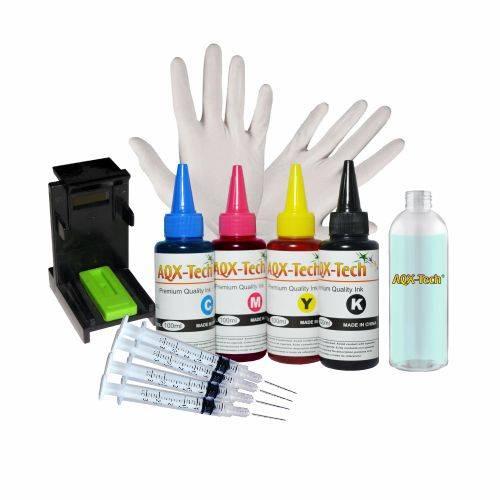 Kit de Recarga AQX Para HP 400 ml + Guantes + Jeringas + Clip + Cleaner