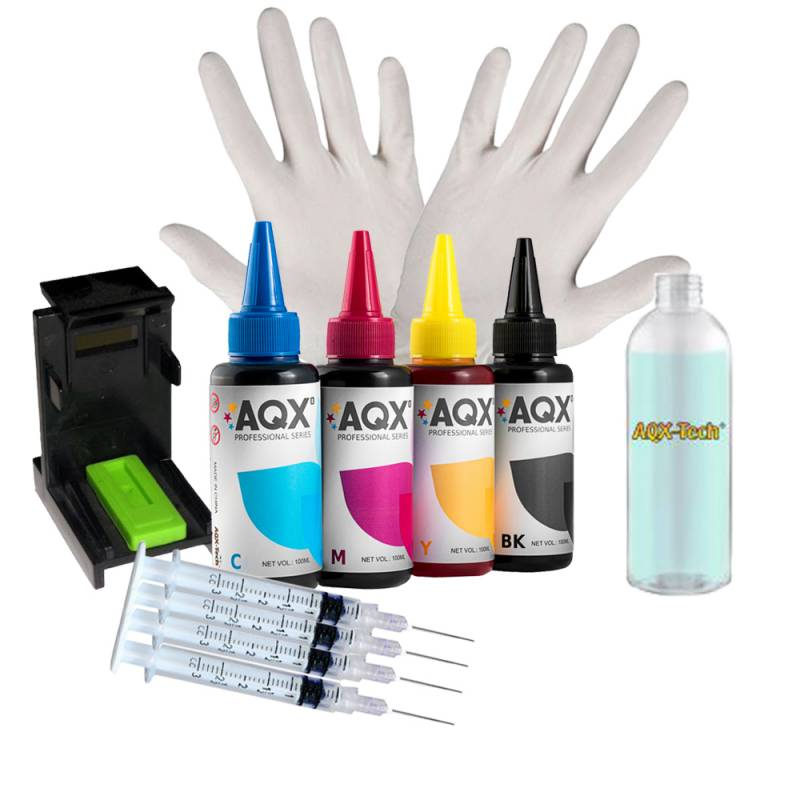 Kit de Recarga AQX Para HP 400 ml + Guantes + Jeringas + Clip + Cleaner